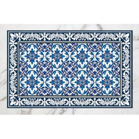 Tapis Carreaux De Ciment Bleu Et Blanc