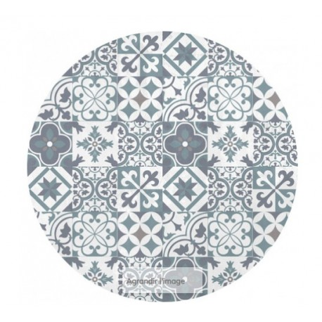 Tapis rond motif carreaux de ciment en vinyl pas cher Tapis carreaux de ciment pas cher