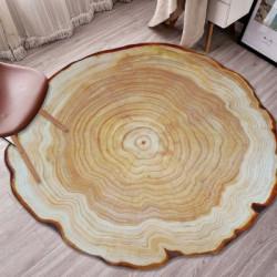 Tapis rond en aspect bois