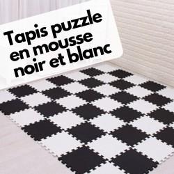 Tapis puzzle noir et blanc