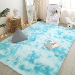 Tapis de salon shaggy bleu