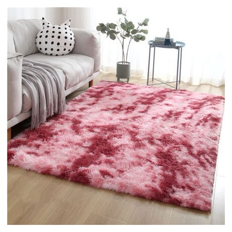 Tapis rose shaggy