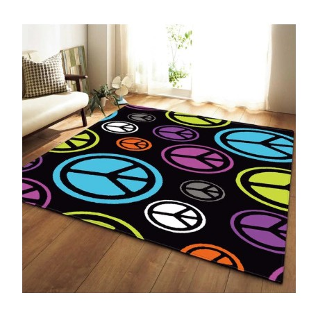 Tapis motif peace and love
