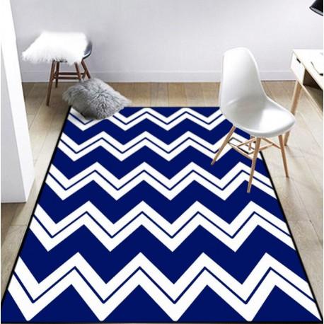 Tapis zigzag et rayures bleu