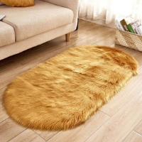 Tapis a poil long jaune moutarde